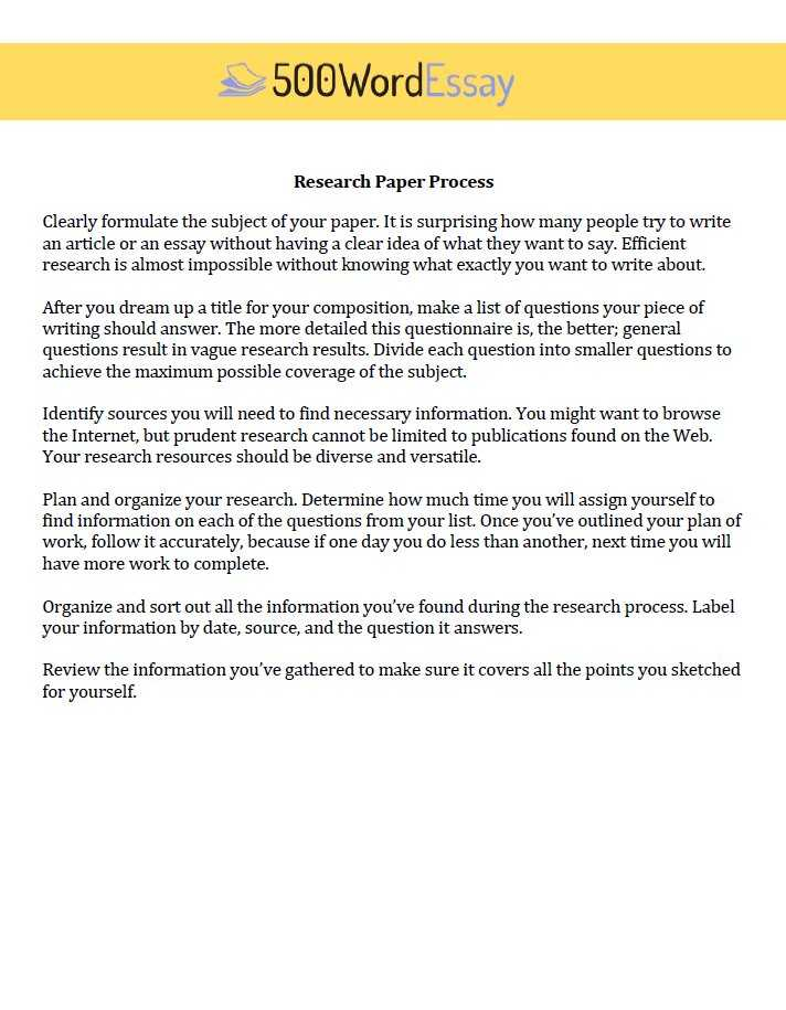 Research paper process order